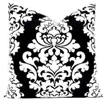 Black Pillow Covers, Black and White Pillow, Damask Pillow Covers Black White Pillow White and Black Throw Pillow Covers ONE Black Cushions