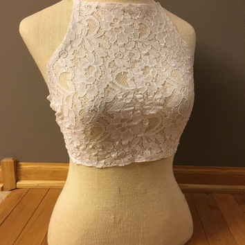 White Lace Sequin Sheer Halter Top- Festival Wear, Edc, Pole Dancing, White Lace, Burlesque,