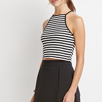 Striped Rib Knit Halter Top