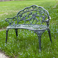 Cast Aluminum Loveseat Garden Bench with Rose Floral Decoration