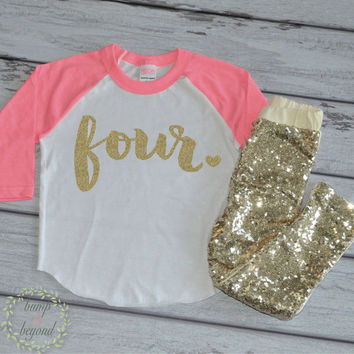 4 Year Old Birthday Outfit Girl 4th Birthday Outfit Set with Pants Trendy Toddler Girl Gold Four Outfit Gold Sequin Pants Raglan Shirt 102