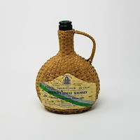 Vintage Wicker Wrapped Wine Bottle Demijohn Justino's Finest Malmsey Fine Madeira Wine