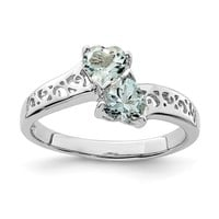 Sterling Silver 2-Stone Genuine Aquamarine Heart Filigree Ring