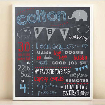 First Birthday Chalkboard Print with Personalized Stats Modern Elephant Boy Birthday Party Poster in Red Gray Blue 8x10 11x14