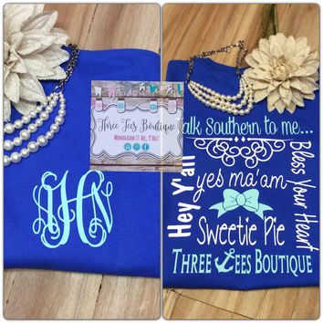 Southern Sayings Monogram T-Shirt Monogram Country Girl Shirt Short Sleeve Monogram T-Shirt Monogrammed Gifts