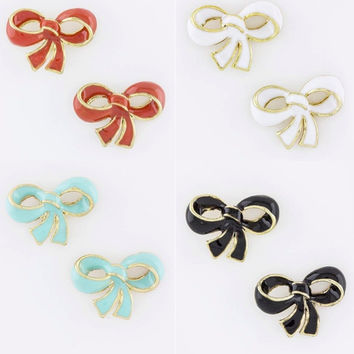 Lacquered Bow Stud Earrings - Black, White, Coral or Light Blue