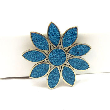 Turquoise Blue Alpaca Mexican Silver Pendant Daisy Brooch Indian Mexico Jewelry Vintage Estate Costume Jewelry Gift Necklace Flower Scarf