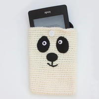 Crochet Panda Bear, Panda Phone Case, Panda Kindle Case, Panda Purse, Panda Ipad Mini Case, Panda Girl's Purse