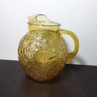 Vintage Retro Anchor Hocking Lido Milano Honey or Amber Textured Glass Pitcher - 1960's