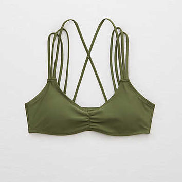 Aerie Strappy Scoop Bikini Top , Rugged Green