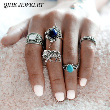 QIHE JEWELRY 5pcs/set Bohemian Style Elephant Blue Stone Silver Color knuckle Midi Ring Set BOHO Beach Jewelry