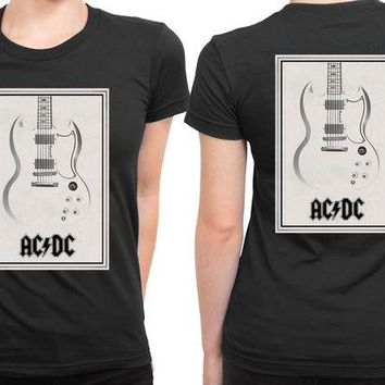 VONEED6 ACDC Guitar Invert 2 Sided Womens T Shirt