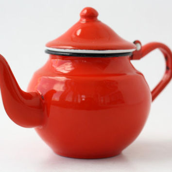 Vintage FRENCH Red Enamel Teapot // East Europe Coffee Metal Enamelware // Small Cute Orange Serving Kettle Jug // Excellent Condition