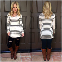 Oatmeal Stripe Tunic Blouse