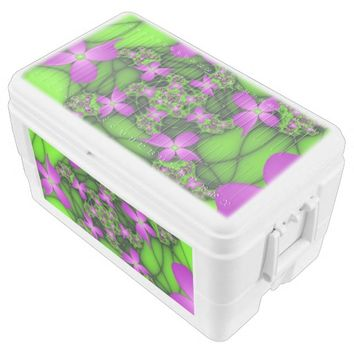 Modern Abstract Neon Pink Green Fractal Flowers Chest Cooler