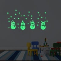 Christmas Plane Wall Stickers Glow In The Dark Luminous Snowman Sticker Store Window Living Room Home Decor adesivo murale
