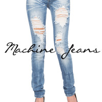 (amx) Light stone wash distressed skinny jeans
