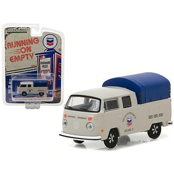 1974 Volkswagen T2 Double Cab Pickup with Canopy Chevron 1/64 Diecast Model Car  by Greenlight