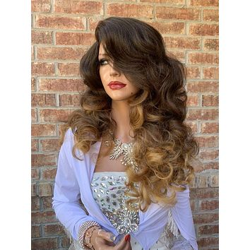 Ombre Brown Blonde Hair Wig, Big Full Curls Layered 919 8