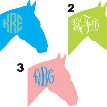 Horse Head Monogram ~ Two Color ~ Custom ~ Vinyl ~ Decal ~ Sticker ~ Monogrammed