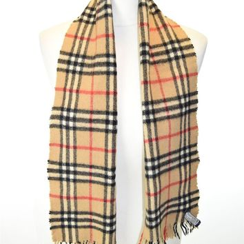 """BURBERRYS Beige Check Patterned Cashmere Wool Blend Scarf, 47"""" X 10"""""""