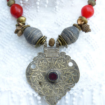 Vintage Middle Eastern Central Asian Pendant - African Trade Beads Necklace
