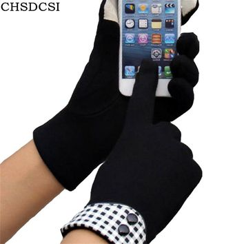 CHSDCSI Winter High Quality Fashion Cloth Cotton Wrist Plush Comfortble Gloves Soft Feeling Women Touched Screen Mittens Glove
