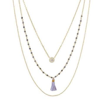 Triple Strand 14 Karat Gold Plated Necklace with Tassel