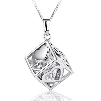 Without Chain  Love Hearts Cube Pendant Female Fashion Silver Jewelry Diy Accessories