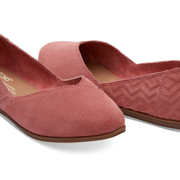 FADED ROSE SUEDE DIAMOND EMBOSSED WOMEN'S JUTTI FLATS