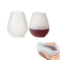 Silicone Wine Glasses Unbreakable Collapsible Stemless Beer Whiskey Drinkware for Camping