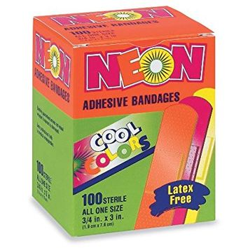 "Neon Adhesive Bandages, Assorted Colors, 3/4"" x 3"", 100/BX (1 Box)"