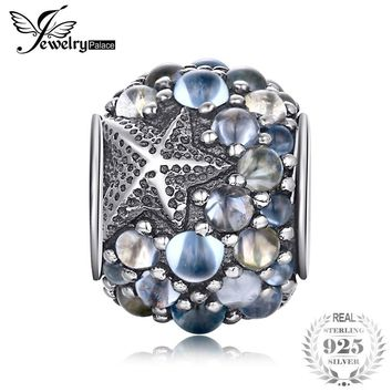 Jewelrypalace 925 Sterling Silver Starfish Blue Bubble Beads Charms Fit Bracelets Gifts For Her Anniversary Fashion Jewelry