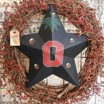 OSU Buckeyes Wreath, Ohio State door hanger