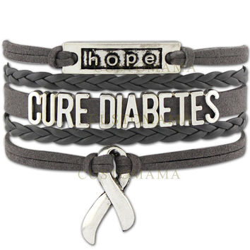 Infinity Love Cure Diabetes Awareness Diabetic Ribbon Bracelet Gift for Fighters