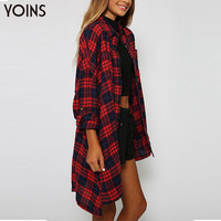 YOINS 2016 New Autumn Winter Fashion Women Loose Plaid Long Sleeves Button Lapel Long Casual Shirt Red Ouerwear Camisas Feminina