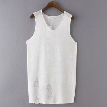 DCCKIX3 Summer Stylish Korean Sexy Knit Hollow Out Ripped Holes Slim Vest T-shirts [4919232452]
