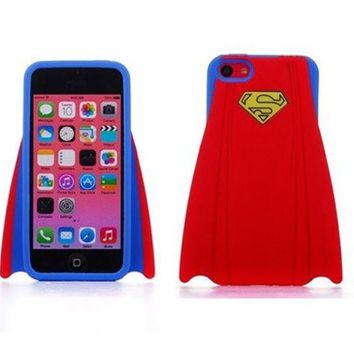 LMFUG3 Super Hero Stylish Superman's capes design Soft Silicone Back Case Cover Protective Skin for iphone 5 5S - Red