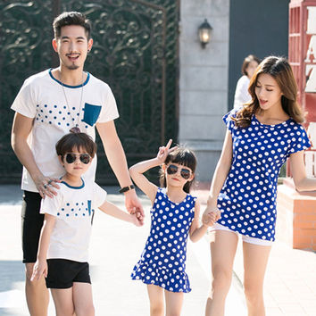 Family Clothing Mother Daughter Dress 2017 Summer Family Look Father Son T-Shirt Cotton Polka Dot Family Matching Outfits