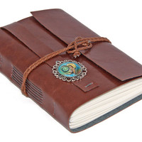 Vegan Light Brown Faux Leather Journal with Heart Cameo Bookmark