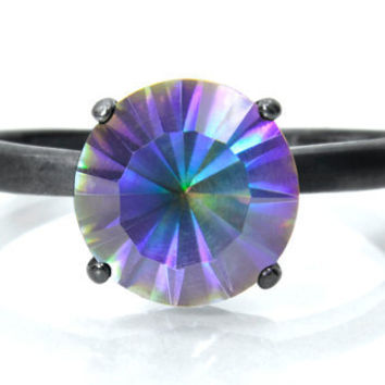 Quartz Ring in Blackened Silver,  Magic Blue Solitaire Ring with Blackened Sterling Silver 4 Prong Setting