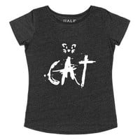 Just Cat Tee-Female Heather Onyx T-Shirt