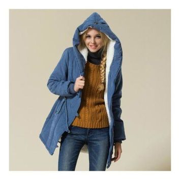Winter Woman Plus Size Slim Hoodied Cotton Coat blue