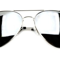 Aviator Silver Mirror or Color Mirror Metal Frame Sunglasses