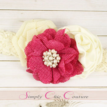 Fuchsia & Ivory Rustic Burlap Headband, Burlap Lace Headband, Flower Girl Headpiece, Wedding Headdress, Country Headband, Burlap Headband