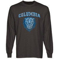 Columbia University Lions Distressed Primary Long Sleeve T-Shirt - Charcoal