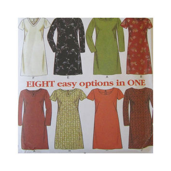 Uncut New Look  Simplicity Pattern 6697 Misses Dress Neck and Sleeve Variations 8 Easy Options Size 8-18