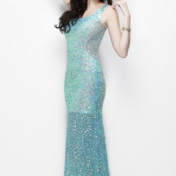 Primavera Couture - 9988 Asymmetrical Sequined Evening Gown