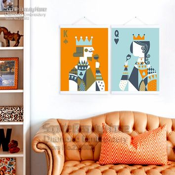 Cool New Diy Diamond Painting Cross Stitch Handcraft Embroidery Set Beauty Poker Queen Crafts Sewing Needlework King Mosaic KitAT_93_12