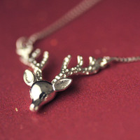 Womens 925 Silver Cute Deer Necklace + Gift Box Jewelry-76